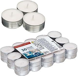 Smart Planet® Ambiente Lot de 30 bougies chauffe-plat Blanc Longue durée de combustion 30 bougies chauffe-plat en aluminium