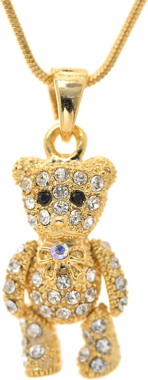 Spinningdaisy Cuddly Crystal Moveable Teddy Bear Necklace