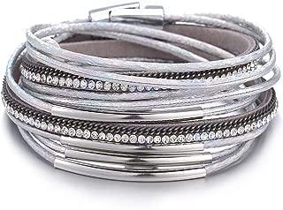 17mile Multi-Layer Leather Wrap Bracelet Handmade Cuff Bangle Alloy Magnet Buckle Bracelets for Women,Girls Gift