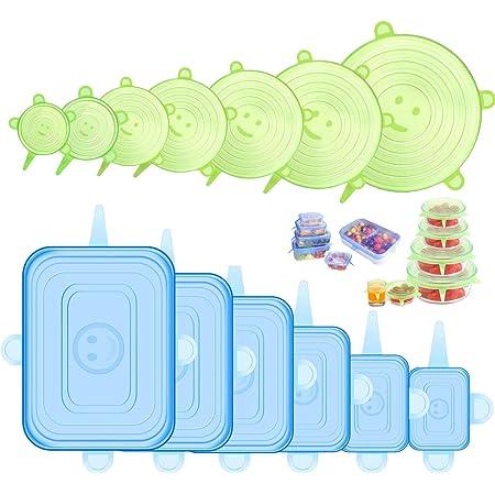 Tapas de Silicona Elásticas Reutilizables, 12 Piezas (6 Redondas y 6 Cuadradas) Tapas Silicona Ajustables Cocina, Sin BPA, para Lavavajillas, Microondas, Horno o Refrigerador
