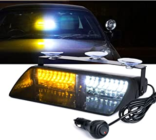 Xprite White & Amber Yellow 16 LED High Intensity LED Law Enforcement Emergency Hazard Warning Strobe Lights for Interior Roof/Dash/Windshield with Suction Cups