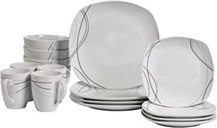 Tabletops Gallery Alec - 16 Piece Square Dinnerware Set, Service for 4