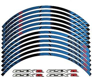 Blue 10 X Custom Rim Decals Wheel Reflective Stickers Stripes for Suzuki GSXR Gixxer 1000 1300 600 750