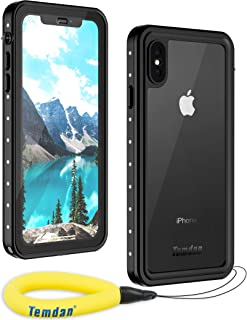 Temdan Waterproof iPhone Xs Max Case, Rugged Heavy Duty Support Wireless Charging Full Body Shockproof Clear Case Built in Screen Protector Waterproof Case for iPhone Xs Max Case 6.5Inch(Black/Clear)