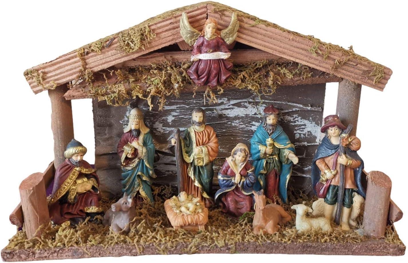 kaikki Pesebre Navideño, Pesebre Decoración Pesebre Pesebre Resina Jesús Decoración Adorno Navideño