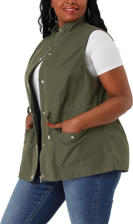Agnes Orinda Plus Size Utility Vest for Women Lightweight Sleeveless Anorak Cargo Drawstring Jacket