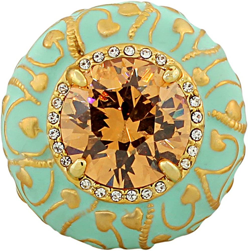 My Daily Styles Fashion Alloy Yellow Gold-Tone Turquoise-Tone Brown CZ Large Statement Cocktail Ring