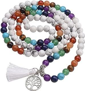 8mm 108 Prayer Mala Beads 7 Chakra Healing Crystal Gemstone Stretch Bracelets Tree of Life Necklace