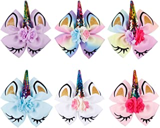 Oaoleer 8 inch Unicorn Cheer Bows for Girls Dogs Kids Grosgrain Ribbon Pig Tail Hair Bow with Alligator Clips (6pcs Unicorn Bows)