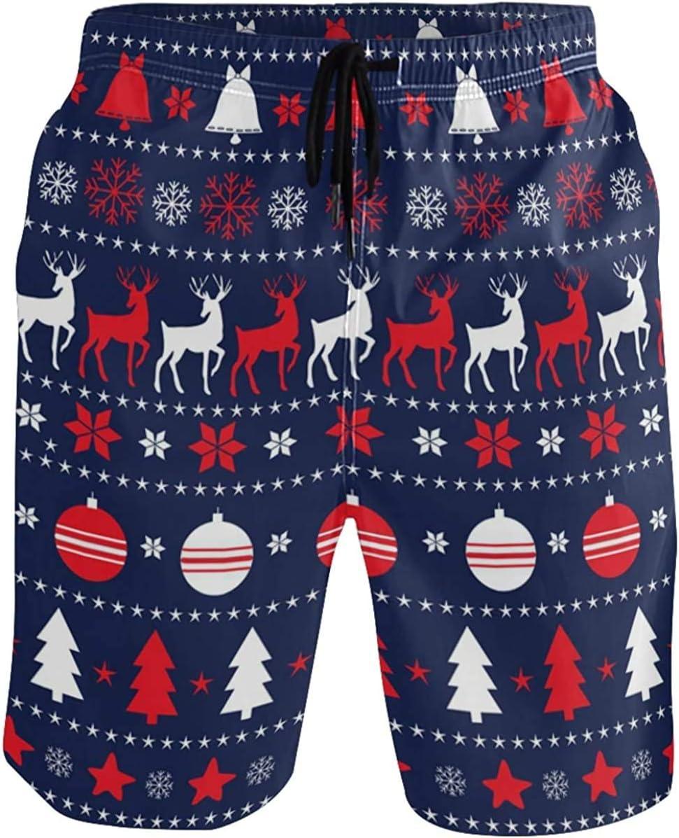 Swim Trunks Xmas Reindeer Mens Board Shorts Swimwear Beachwear Beach Shorts Athletic Shorts Quick Dry Shorts Swimming Trunks for Men