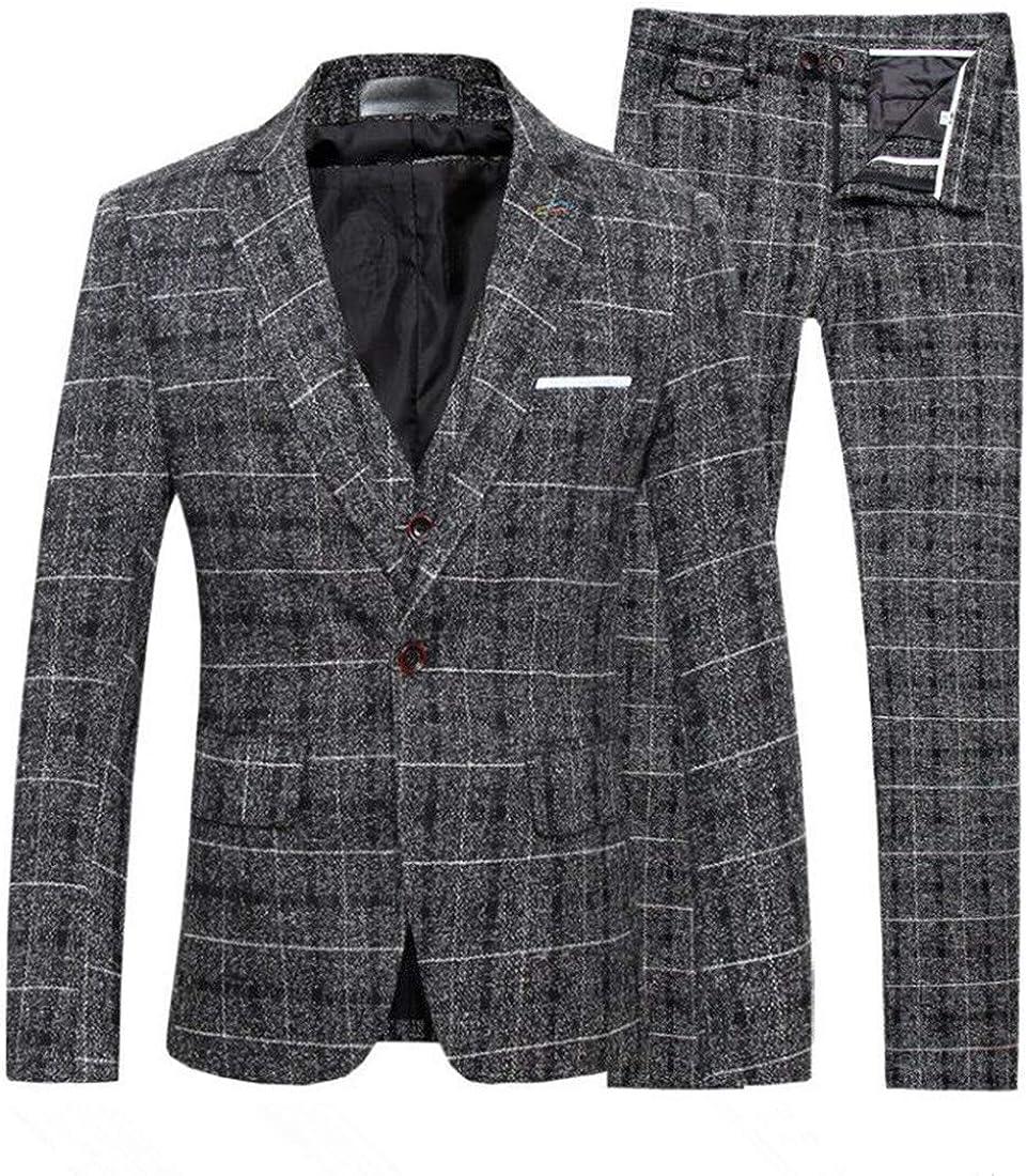 Mens Tweed Herringbone Slim Fit Wool Suit 3 Pieces Check Plaid Striped Blazer Vest Pant
