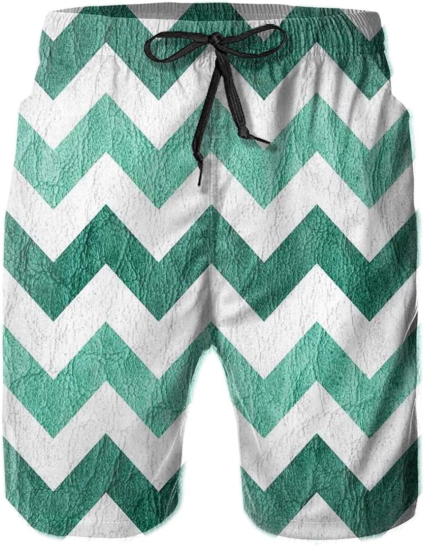 Pastel Chevrons Peru Zigzag Lines in Green Toned Geometric Contemporary Mens Swim Trucks Shorts with Mesh Lining,M