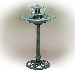 Best Alpine Corporation TEC106 Tiered Classic Pedestal Garden Water Birdbath Floor Fountain, One Size, Green Review