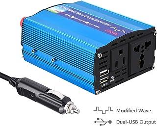 Inversor De Corriente 300W para Coche,Transformador De 12v A 220v, Inversor con 1 Toma Enchufe Y 2 Puertos USB De 3,1 para iPhone, iPad Y Tableta