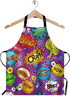 WONDERTIFY Exclamations Apron,Comic Speech Bubbles Pattern Bib Apron with Adjustable Neck for Men Women,Suitable for Home Kitchen Cooking Waitress Chef Grill Bistro Baking BBQ Crafting Apron