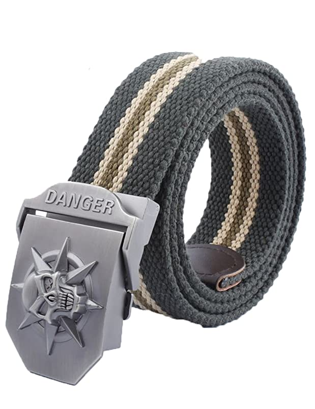 Men's Adjustable Canvas Belt Metal Buckle Military Style W52