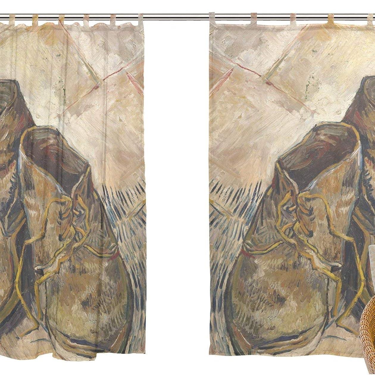 逆さまに母性表示ZOMOY(ユサキ おしゃれ 薄手 柔らかい シェードカーテン紗 ドアカーテン,ゴッホ 芸術の油絵,装飾 窓 部屋 玄関 ベッドルーム 客間用 遮光 カーテン (幅:140cm x丈:210cmx2枚組) デザイン 110
