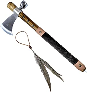 ASR Outdoor Tomahawk Peace Pipe Stainless Steel Axe 19 in Leather Wrapped Handle