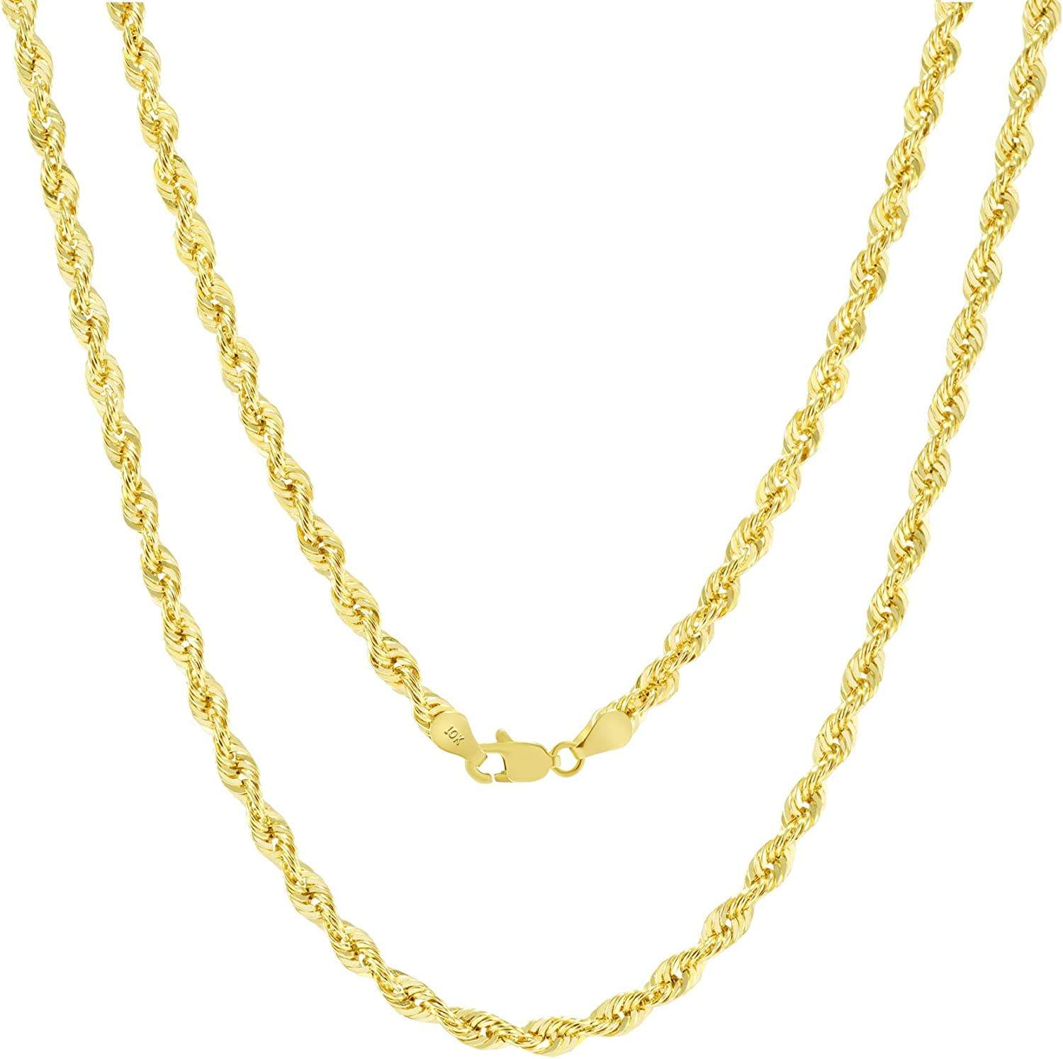 Nuragold 10k Yellow Gold 4mm Diamond Cut Rope Chain Pendant Necklace, Mens Womens Lobster Lock 16