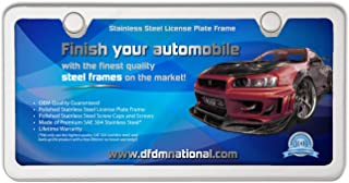 DFDM National License Plate Frame Polished Stainless Steel – Includes Stainless Steel Screws Fasteners and Caps 2 Hole Frame - Anti-Theft Security Design Model