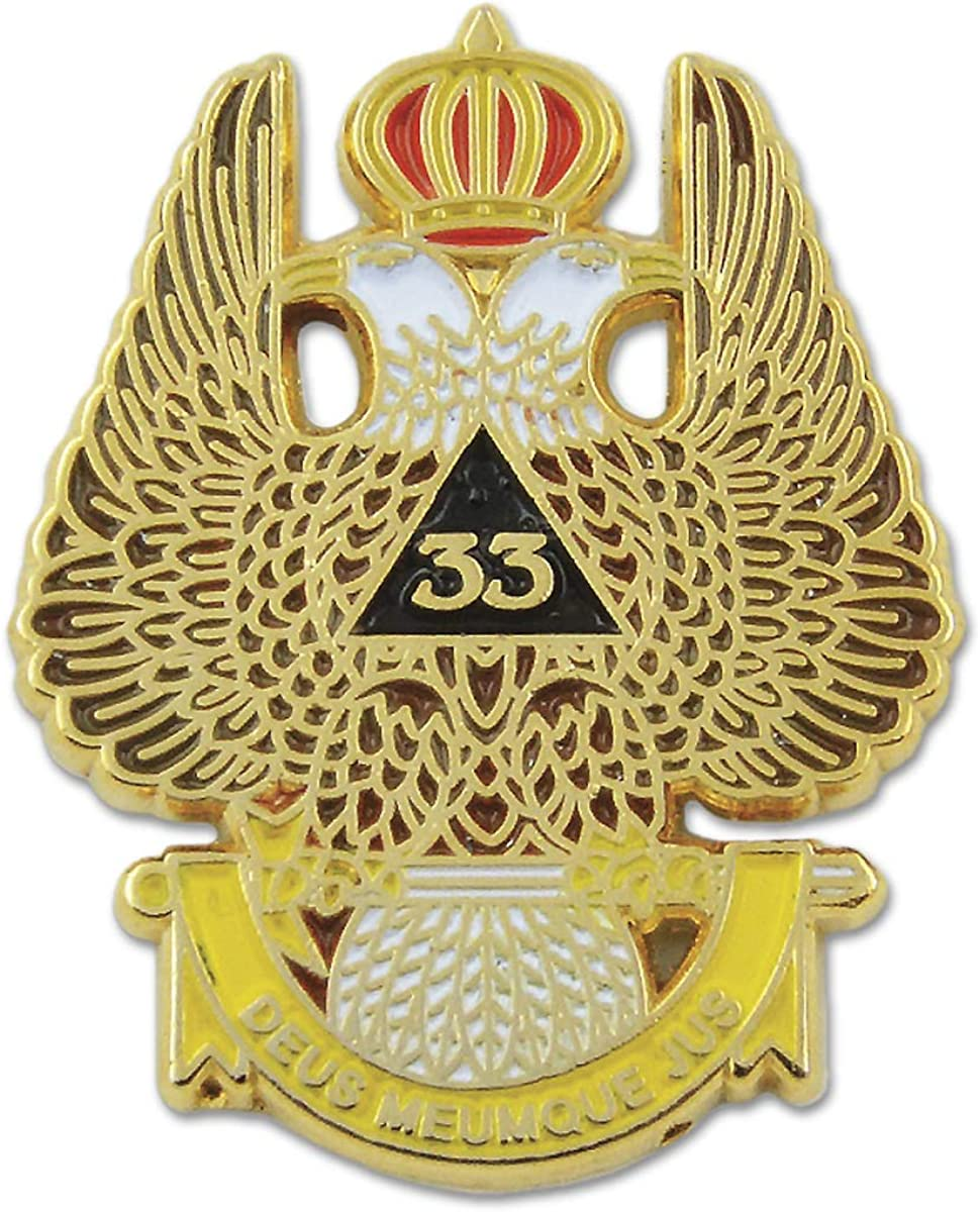 33rd Degree Double Headed Eagle Scottish Rite Masonic Lapel Pin - [Gold & White][1 1/4'' Tall]