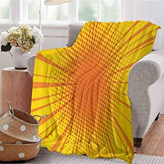 CRANELIN Summer Comforter Blanket Sun Burst with Halftone Effect Comic Book Style and Pop Art Design Orange and Yellow Dorm Bed Baby Cot Traveling Picnic W71 xL90