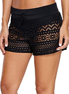 Womens Lace Hollow Out Swimsuit Tankini Bottom Swim Board Shorts(S-XXXL)