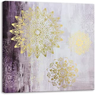 Kas Home Gold Foil Mandala Canvas Wall Art | Purple Prints Large Framed | Perfect Nature Abstract Artwork Decoration for Bedroom, Living Room, Office & Home Wall Decor (32 X 32 inch, A Framed)