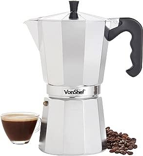 VonShef Stovetop Aluminium Espresso Maker Moka Pot, Chrome, 12 Espresso Cup Capacity