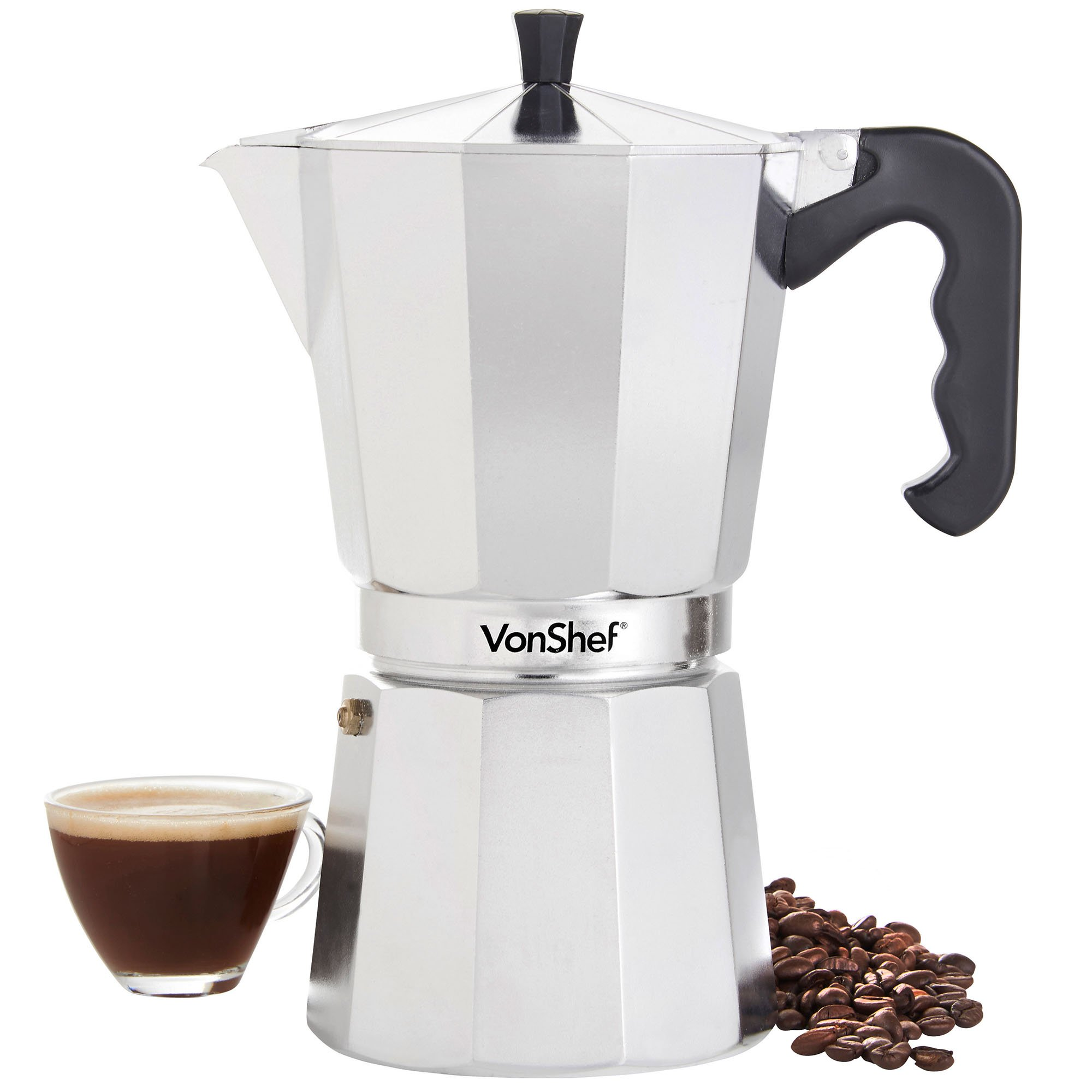 VonShef Cafetera Espresso Italiana Macchinetta Moka de 3/6/9/12 ...