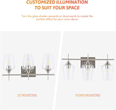 CO-Z 3-Light Vanity Lights for Bathroom Brushed Nickel, Modern Bathroom Lighting Fixture Over Mirror Wall Lamp with Clear Gla