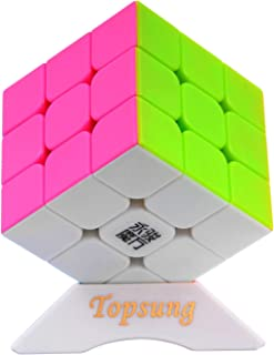 Topsung YJ Yulong Stickerless Speed Cube 3x3 Smooth Magic Cube Puzzle Colorful with Tripod Base