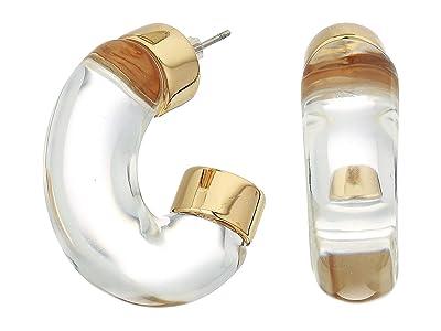 Vince Camuto Resin Hoop Earrings (Gold/Clear) Earring