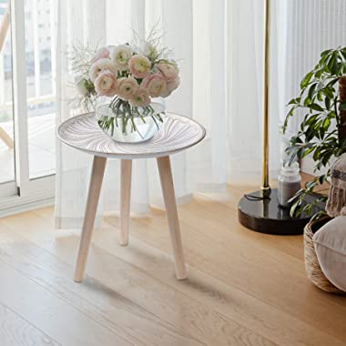 AHUONEL Round Nesting Tables Set of 2, White Side Table Coffee End Tables, Small Corner Table Nightstand for Living Room, Bed