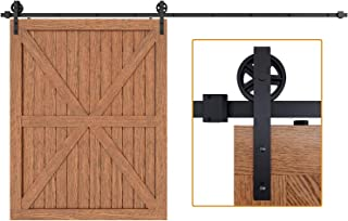 "EaseLife 12 FT Heavy Duty Big Wheel Sliding Barn Door Hardware Track Kit,Ultra Hard Sturdy,Slide Smoothly Quietly,Easy Install,Fit up to 72"" Wide Door (12FT Track Single Door Kit)"