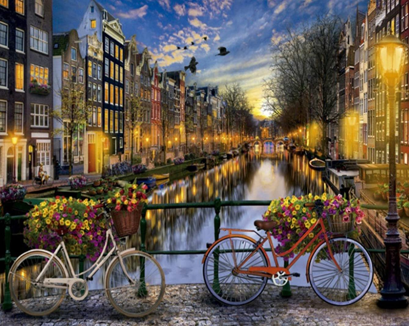 JOLOMOY Paint by Numbers Kits for Adults, DIY Digital Oil Painting by Number for Kids Beginner - Dutch Bicycle River Night Landscape 16X25 inch Number Painting