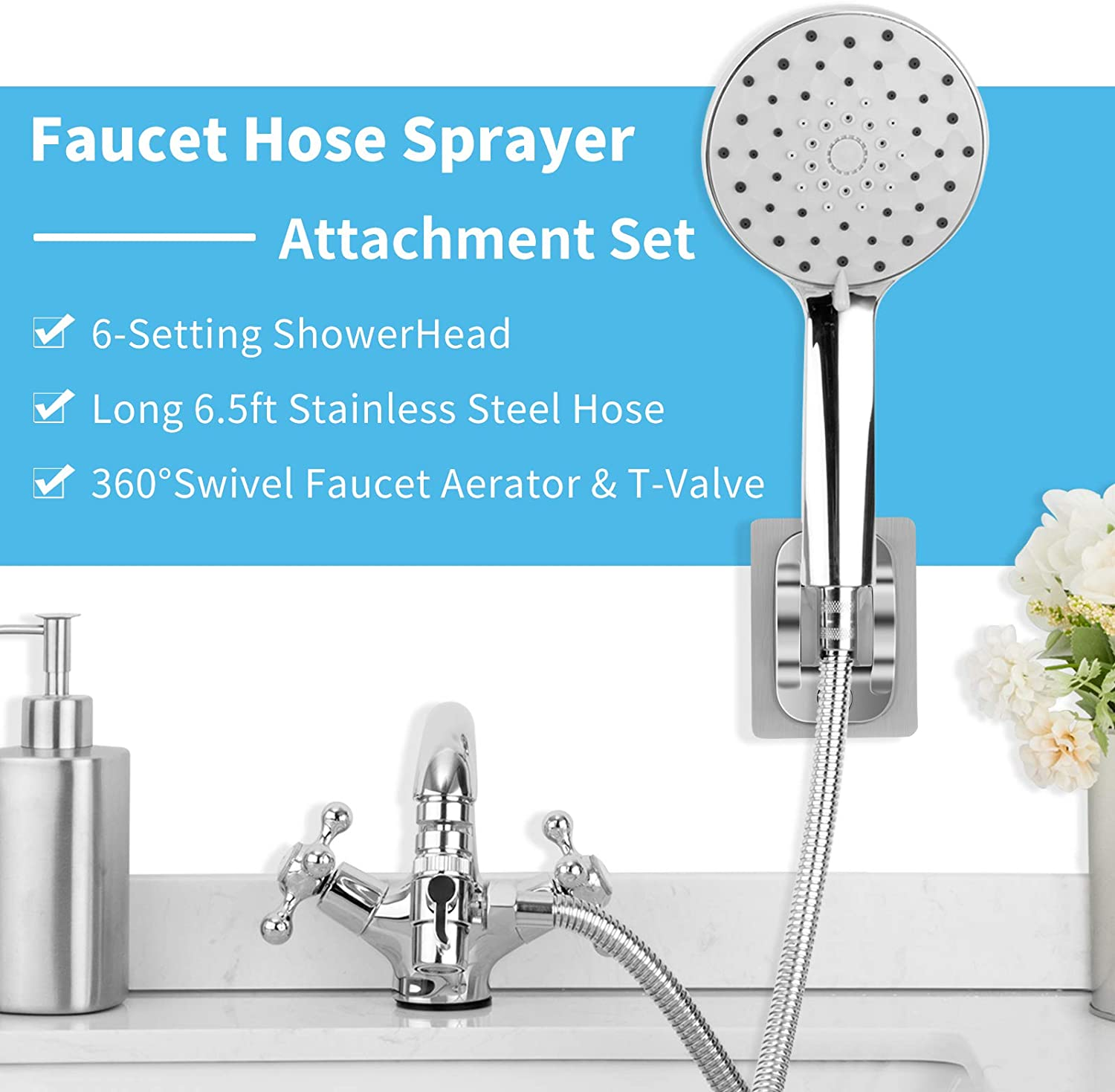 w// 6.5ft Hose /& Kitchen Swivel Faucet Aerator for Pet Bath Hair Washing Elderly Injured Faucet Shower Rinser Extension for Bathroom Bathtub Utility Laundry Tub Sink Faucet Hose Sprayer Attachment