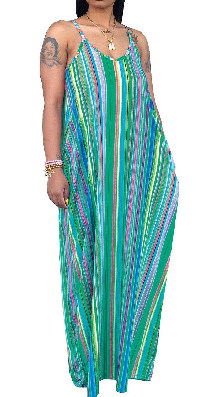 Available at Amazon: SheKiss Women's Casual Sexy Summer Stripe Bodycon Long Maxi Dresses Floor Length Sleeveless Plus Size Sundresses