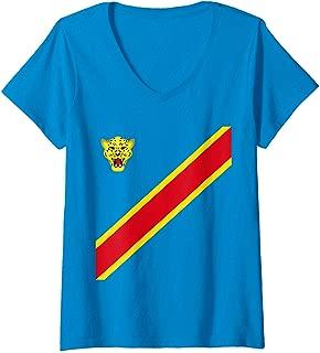 Womens Congo Football Souvenir Flag Of DRC Leopards Proud Congolese V-Neck T-Shirt