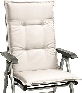 Beautissu cojín para sillas de Exterior, tumbonas, mecedoras o Asientos con Respaldo Alto Base HL 120x50x6 Placas compactas de gomaespuma - Natural