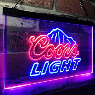 zusme Coors Light Mountain Beer Bar Novelty LED Neon Sign Blue + Red W16 x H12