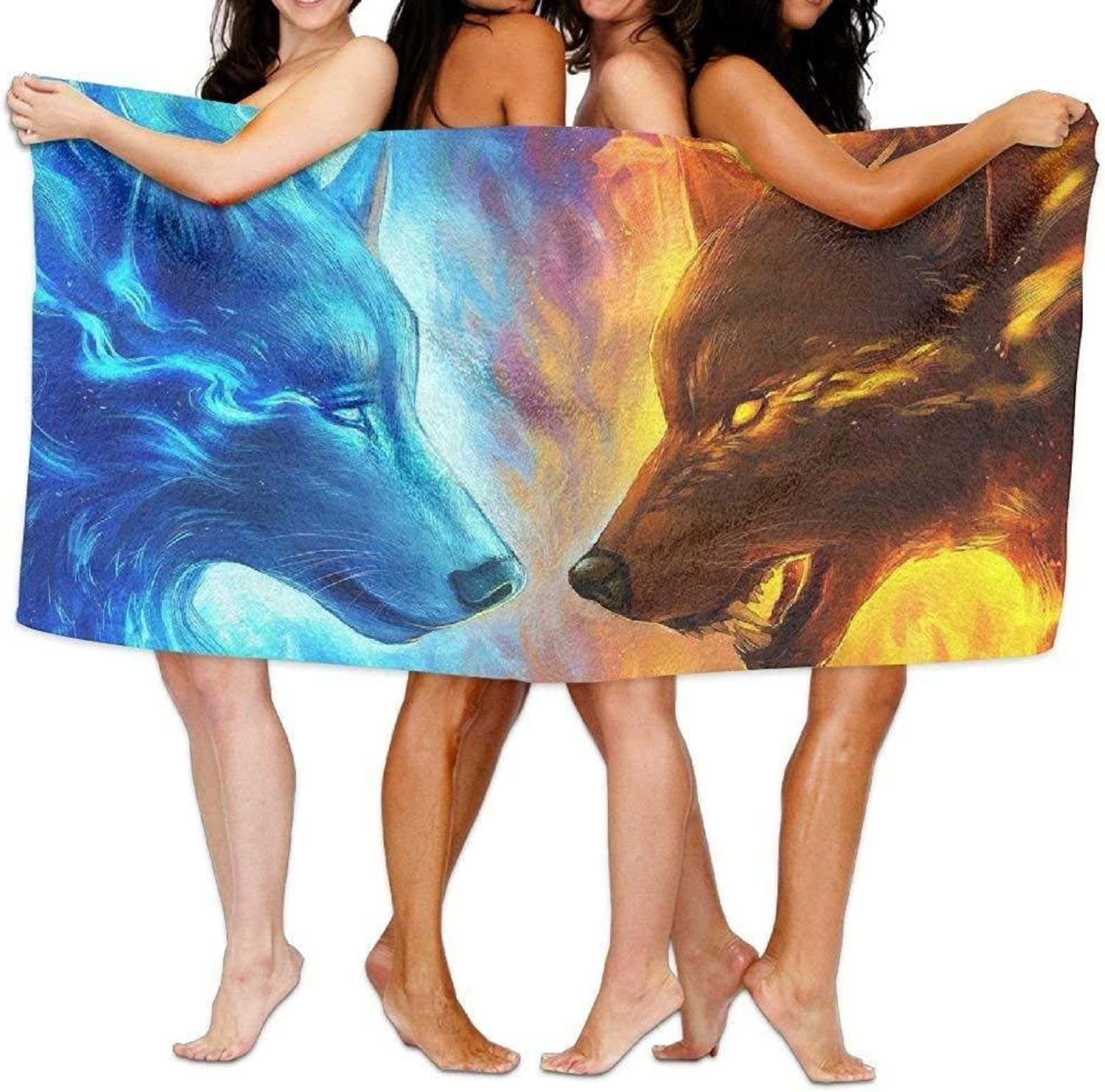Fire and Water Wolf Luxury Bath Towel Hotel & Spa ExtraAbsorbent Towel for Beach & Bath 31.5  x 51.2 (80cm x 130cm)