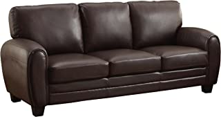 Homelegance Rubin 85 Bonded Leather Sofa, Dark Brown