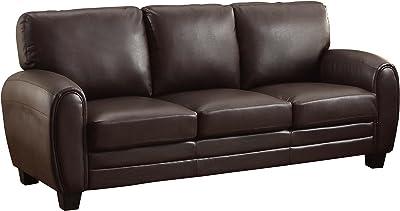 "Homelegance Rubin 85"" Bonded Leather Sofa, Dark Brown"