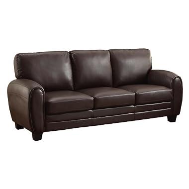Homelegance Rubin 85  Bonded Leather Sofa, Dark Brown