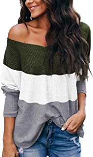 NIASHOT Womens Off The Shoulder V Neck Sweater Casual Waffle Knitted Pullover Tops