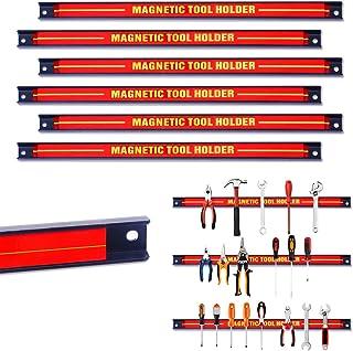 COSTWAY Magnetische gereedschapshouder 6 stuks, magneetstrip voor garage/werkplaatsen, magneetrail, met bevestigingsmateri...