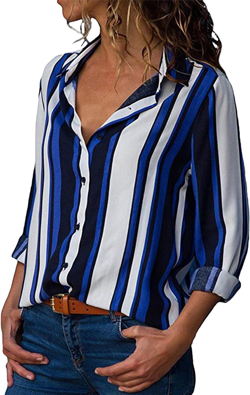 OMZIN Women's Casual Stripe Shirts with Roll Sleeve Button Down Chiffon Tops