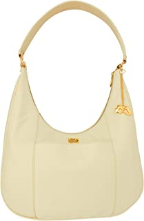 ANGLOPANGLO Isabella Leatherette Bag for Girls and Women (Cream Color)