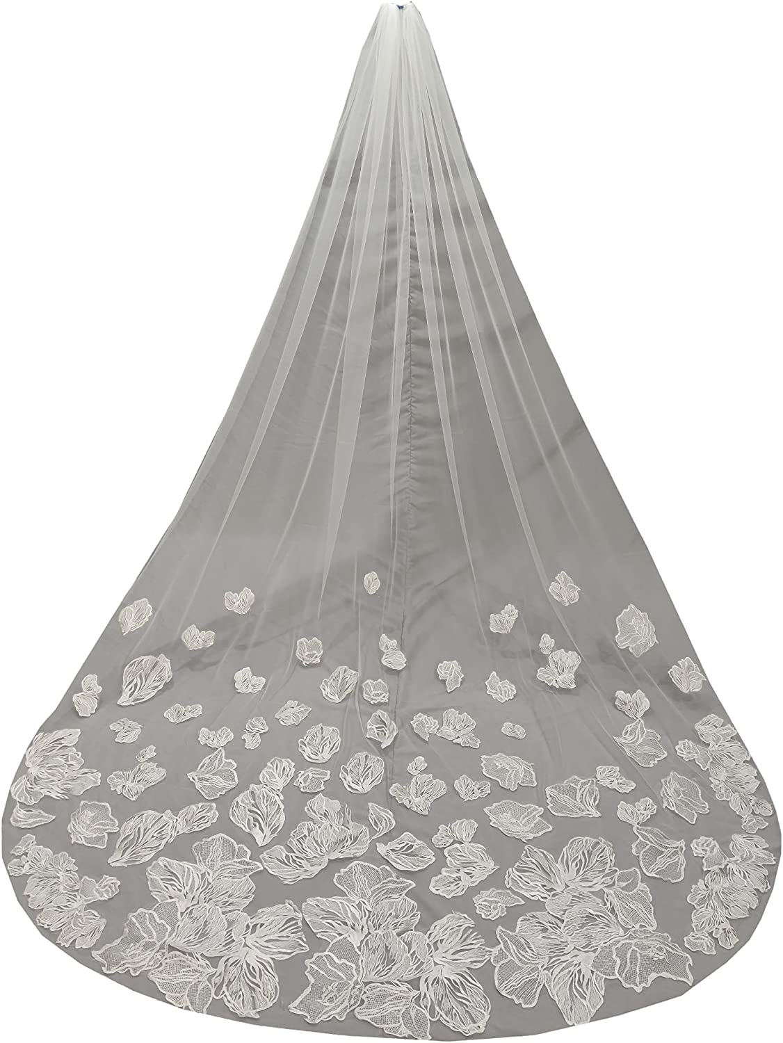 Weddings Veils 1 Tier Long Cathedral Bride lace Sequins Applique with Comb